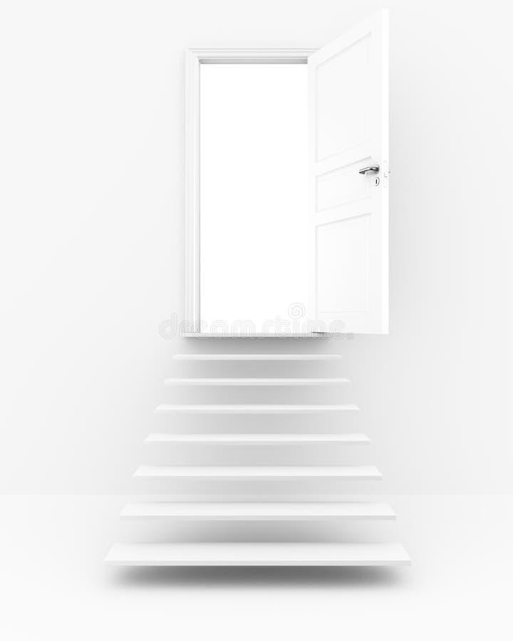 otwarci drzwi schodki ilustracji