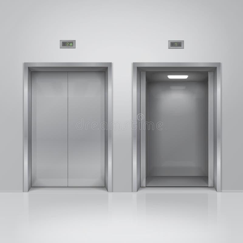 Otwarci i zamknięci chromu metalu budynku windy drzwi Realistyczny wektor royalty ilustracja