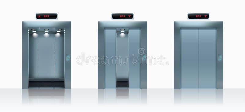 Otwarci i zamknięci realistyczni wind drzwi również zwrócić corel ilustracji wektora ilustracji