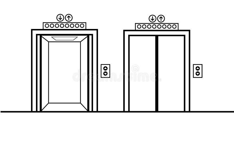 Otwarci i zamknięci wind drzwi royalty ilustracja