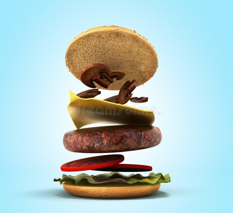 Otwarcie Amerykański hamburger 3d odpłaca się na gradiencie ilustracja wektor