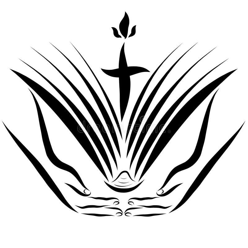Otwarcie biblia w rękach i krzyż z płomieniem royalty ilustracja