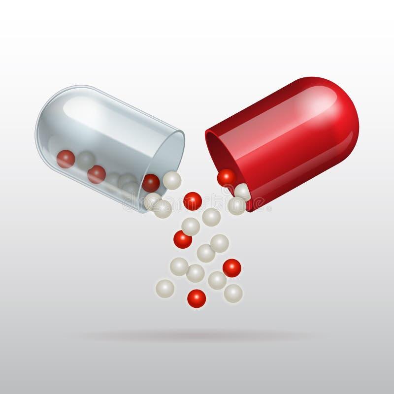 Otwarcie czerwona medyczna kapsuła ilustracji
