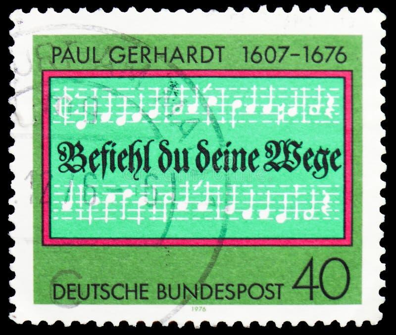 """Otwarcie linie hymn one Powierzają boga,"""" Paul seria około 1976 """", Gerhardt, (kompozytor) obrazy stock"""