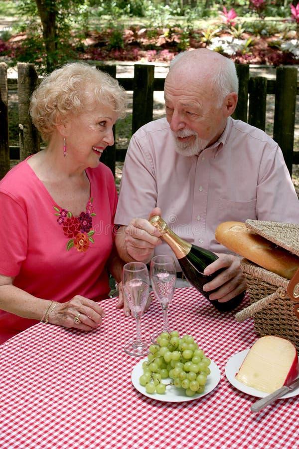 otwarcie seniorów wino na piknik obraz stock