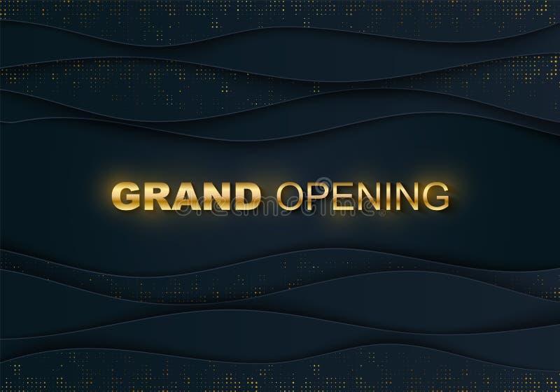 Otwarcie uroczysty sztandar Złocisty halftone, tekst Biznesowego rozpoczęcia ceremonii układ, wydarzenie etykietka Błękitna wvy w ilustracja wektor