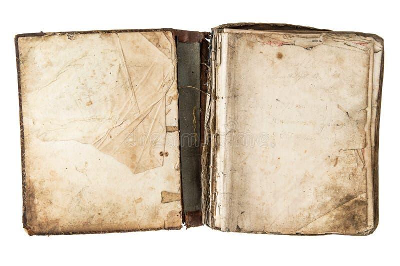 Otwarta antyk książka z grungy stronami obraz stock