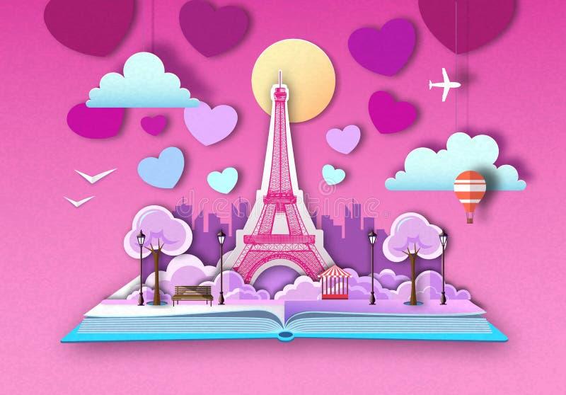 Otwarta bajki książka z Paryskim miasto krajobrazem, wieżą eiflą i Ciie za papierowym sztuka stylu projekcie ilustracji