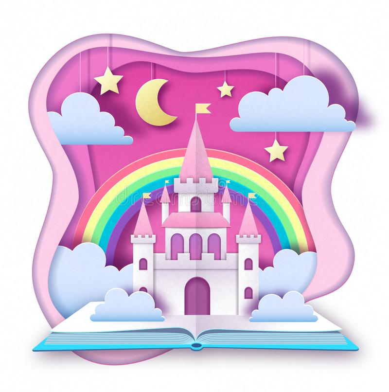 Otwarta bajki ksi??ka z kasztelem z chmurami, gwiazdami i ksi??yc, Ciie za papierowym sztuka stylu projekcie origami royalty ilustracja