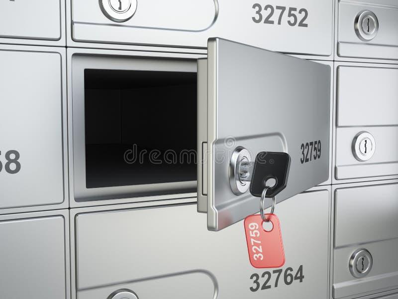 Otwarta bezpieczna bank komórka, klucz skrytka i ilustracji