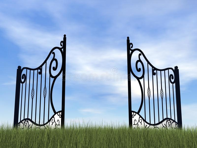 Otwarta brama w naturze - 3D odpłacają się ilustracji