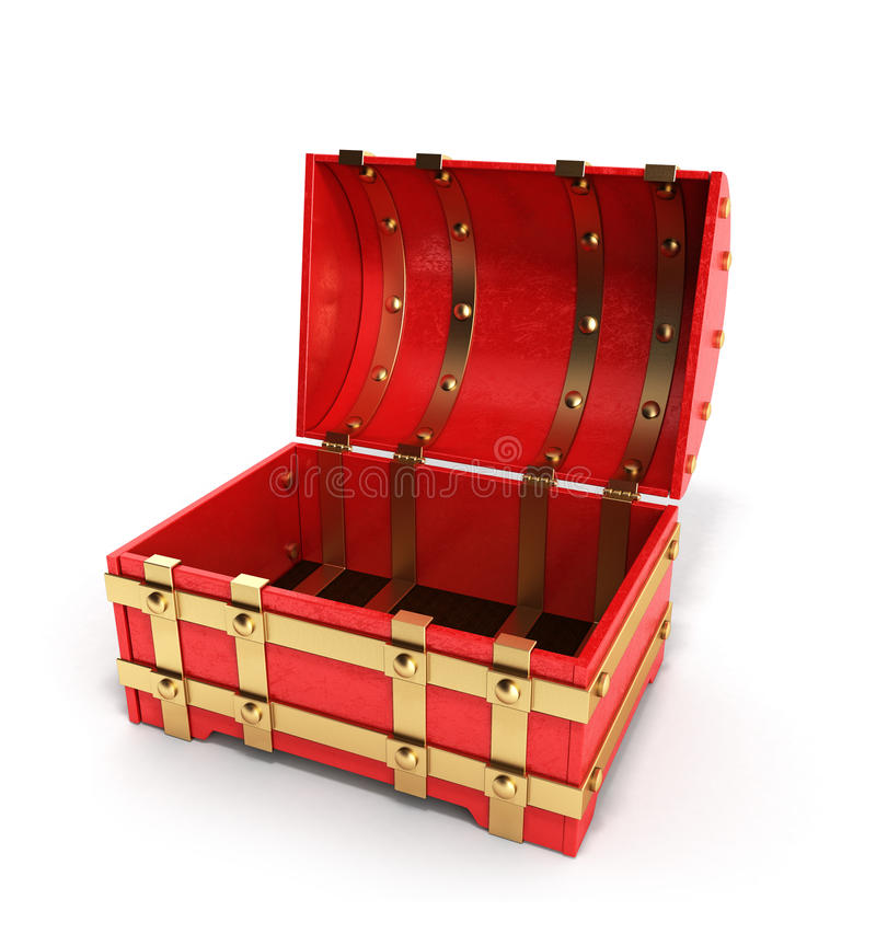 Otwarta czerwona klatka piersiowa pusty 3d odpłaca się na białym tle ilustracji