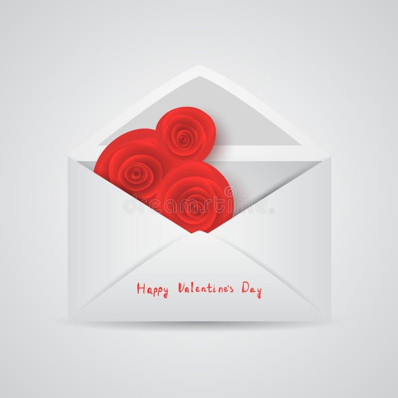 Otwarta koperta z czerwieni różą ilustracja wektor
