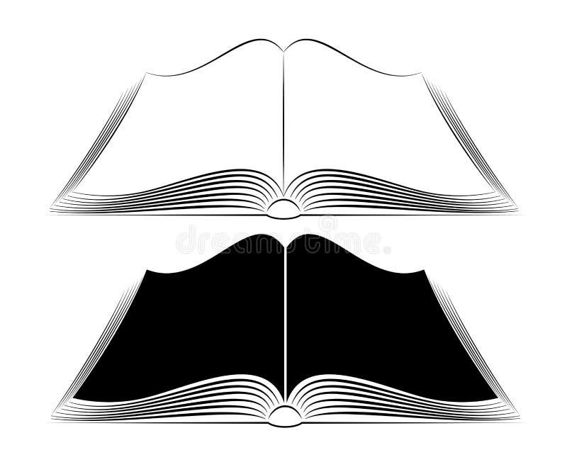 Otwarta książka na stole Prości czerń kontury Logo lub emblemat wiedzy baza lub bookstore ilustracja wektor