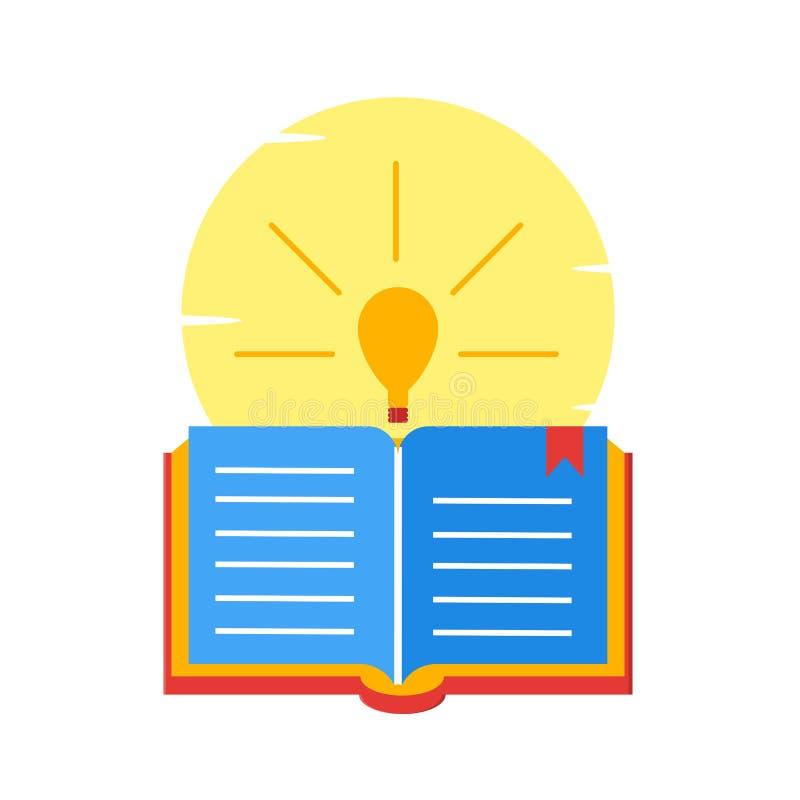 Otwarta książka, czytanie, edukacja, lampa, otwarta wiedzy ilustracja - wektor ilustracja wektor