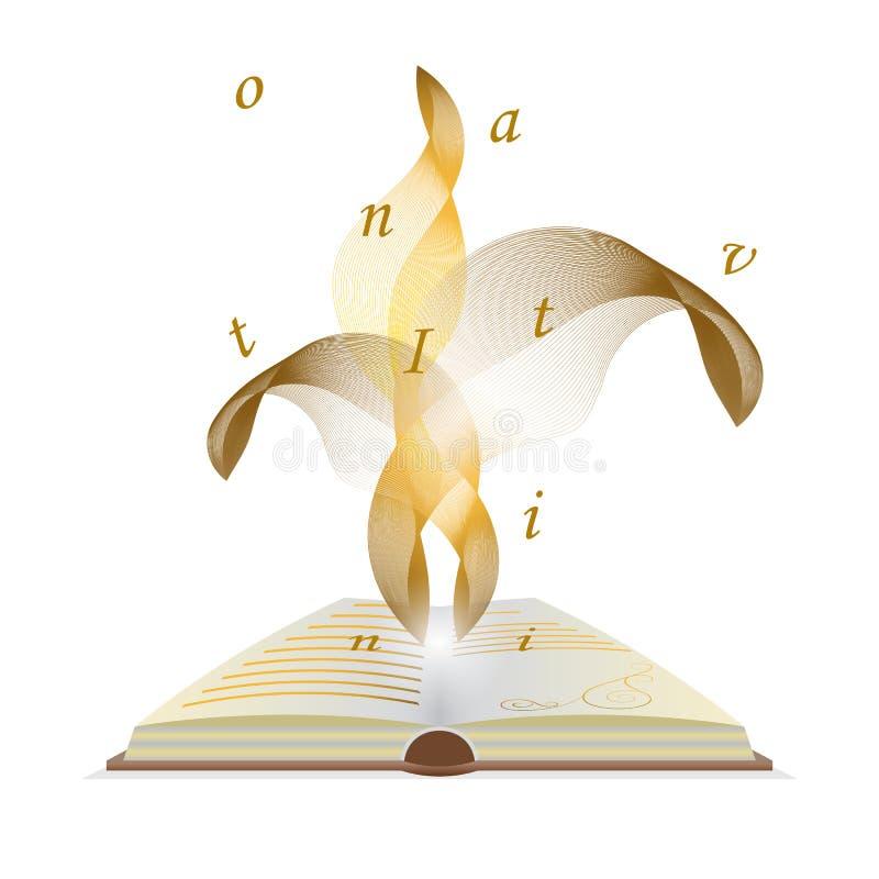 Otwarta książka z latanie listami Magia ogień płomienie od wewnątrz ilustracja wektor