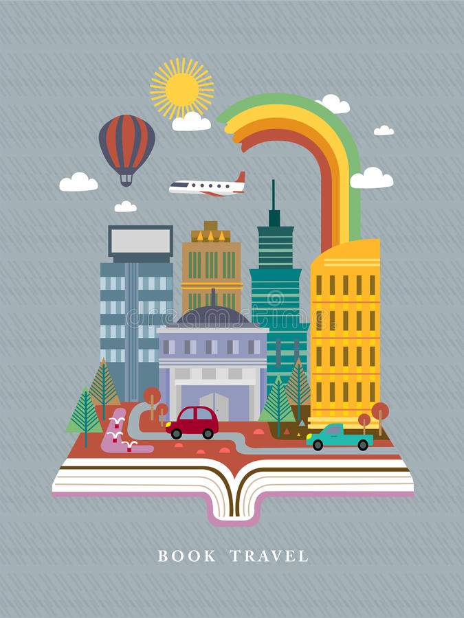 Otwarta książka z miasto uliczną sceną w płaskim projekcie ilustracja wektor