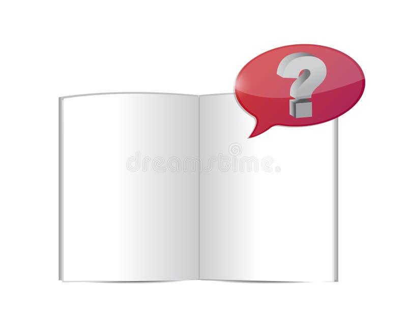 Otwarta książka z pytaniem strzela out. ilustracja royalty ilustracja