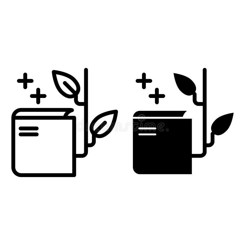 Otwarta książka z rośliny linią i glif ikoną Wiedzy wektorowa ilustracja odizolowywająca na bielu Edukacja konturu styl ilustracji