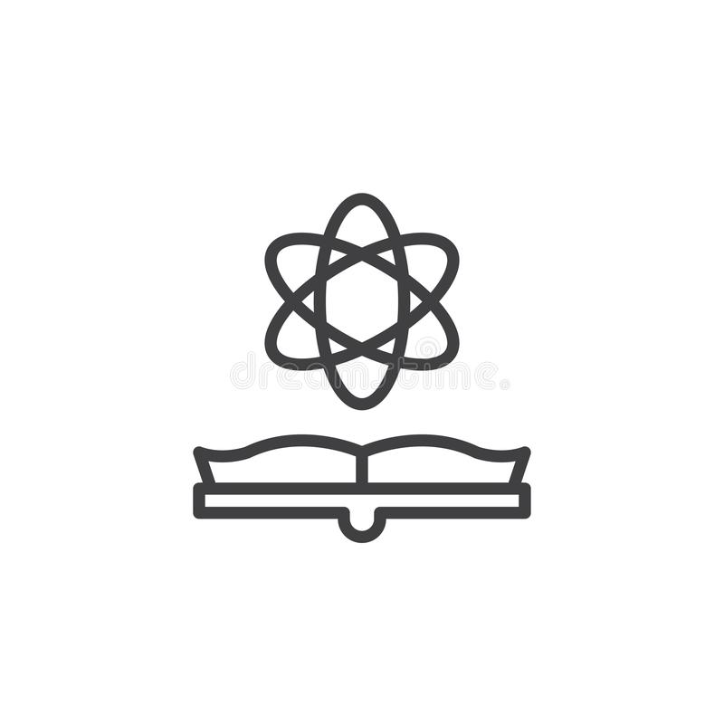 Otwarta książki i atomu konturu ikona royalty ilustracja