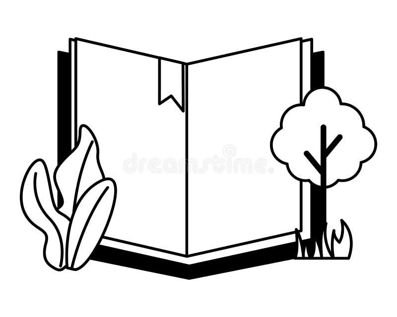 Otwarta książkowa drzewna roślina ilustracji