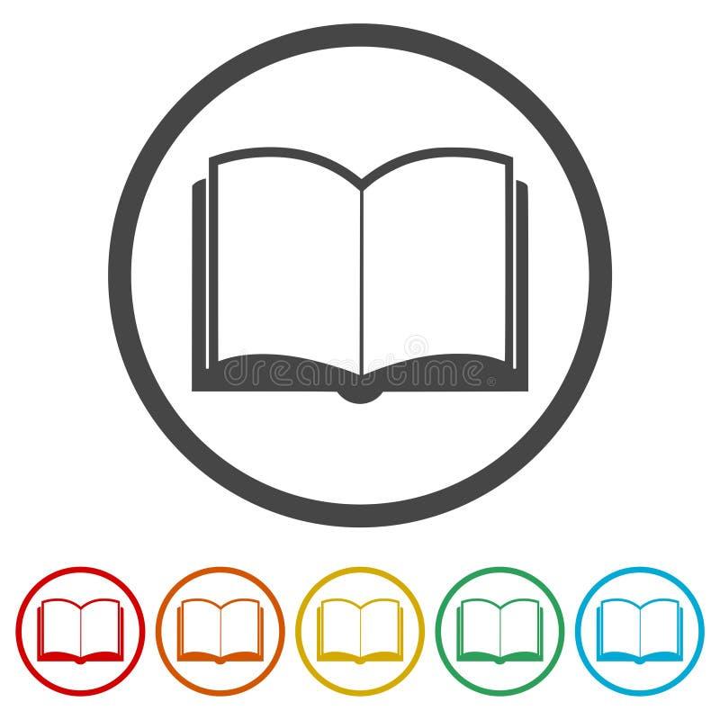 Otwarta książkowa ikona, wektor książkowa ikona, wektorowa ilustracja, 6 kolorów Zawierać royalty ilustracja