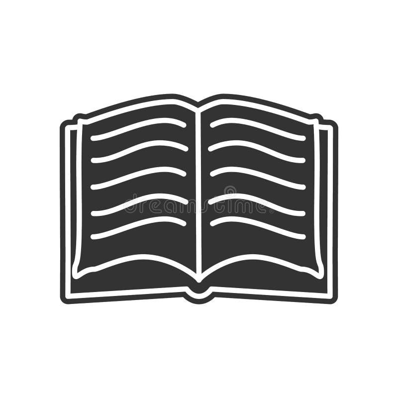 otwarta książkowa nakreślenie ikona Element edukacja dla mobilnego pojęcia i sieci apps ikony Glif, płaska ikona dla strona inter ilustracja wektor