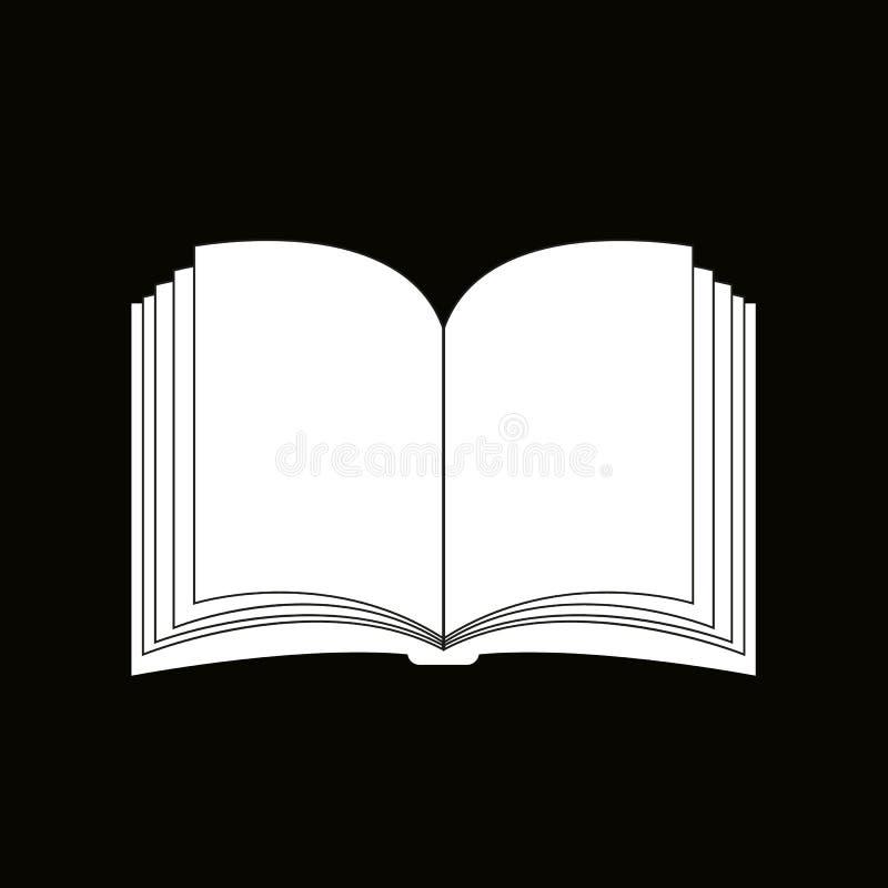 Otwarta książkowa wektorowa clipart sylwetka, symbol, ikona projekt Ilustracja odizolowywająca na Czarnym tle ilustracja wektor