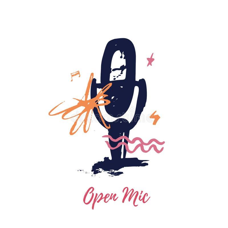 Otwarta mic wektorowa ilustracja na białym tle dla plakata, loga lub tshirt z grunge znakami, royalty ilustracja