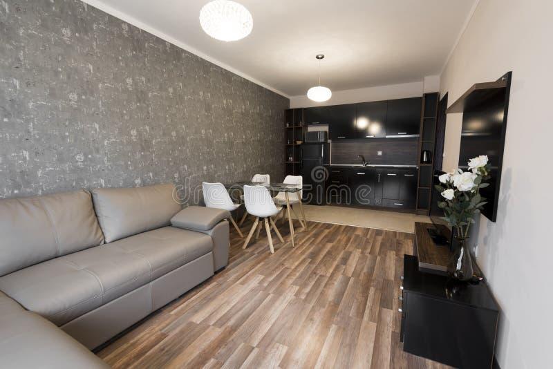 Otwarta przestrzeń żywy pokój z kuchnią nowy dom Pokój z brązem i szarość barwimy brzmienie meble Wewnętrzna fotografia drewniane obraz stock