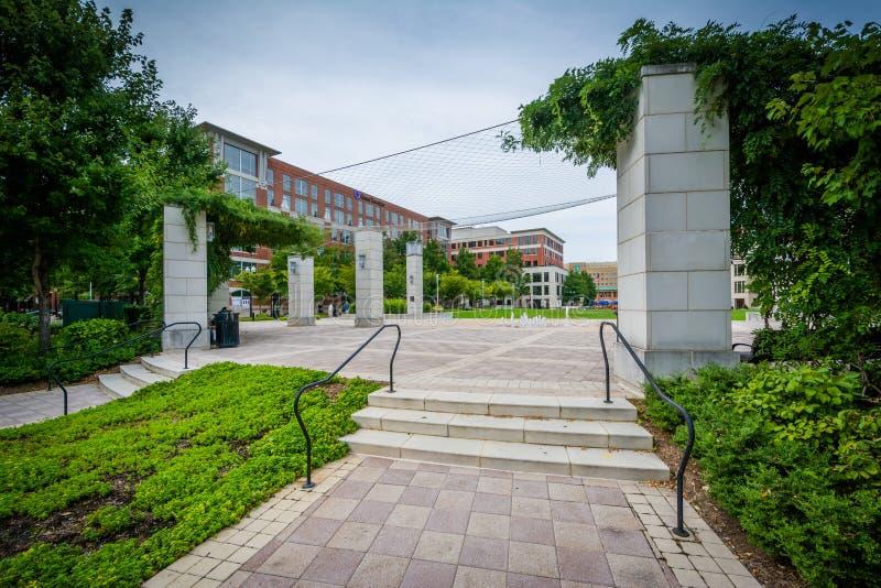 Otwarta przestrzeń przy John Carlyle kwadratem w Aleksandria, Virginia zdjęcie stock