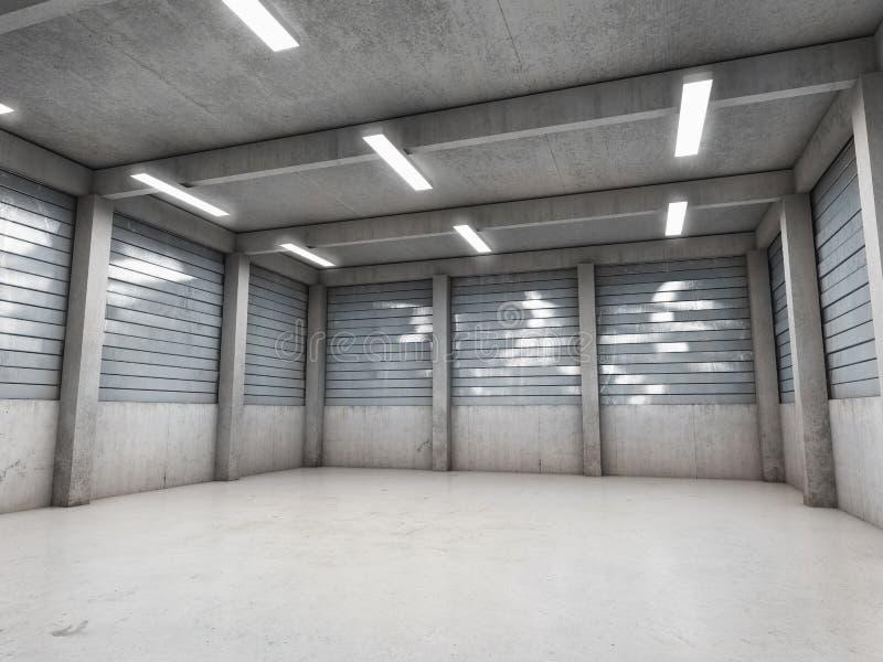 Otwarta przestrzeń pusty garaż ilustracji
