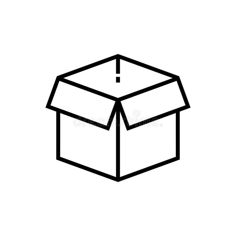 Otwarta pudełko linii ikona, pakuneczek royalty ilustracja