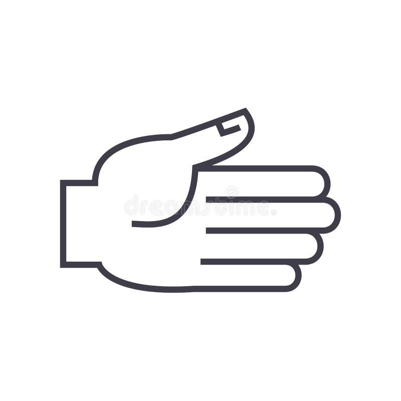 Otwarta ręka wektoru linii ikona, znak, ilustracja na tle, editable uderzenia royalty ilustracja