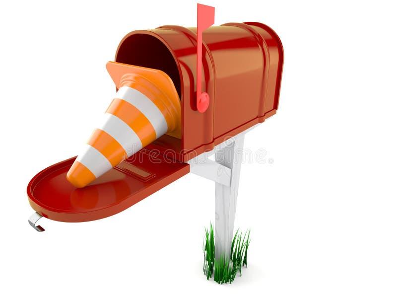 Otwarta skrzynka pocztowa z ruchu drogowego rożkiem royalty ilustracja