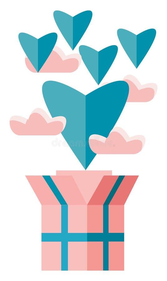Otwarta skrzynka z wyskakującymi z niej mnóstwem pływających serc symbolizuje rysunek lub ilustrację wektora walentynowego ilustracji