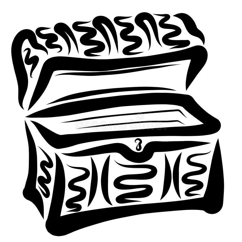 Otwarta szkatuła lub stara klatka piersiowa puści, ilustracja wektor