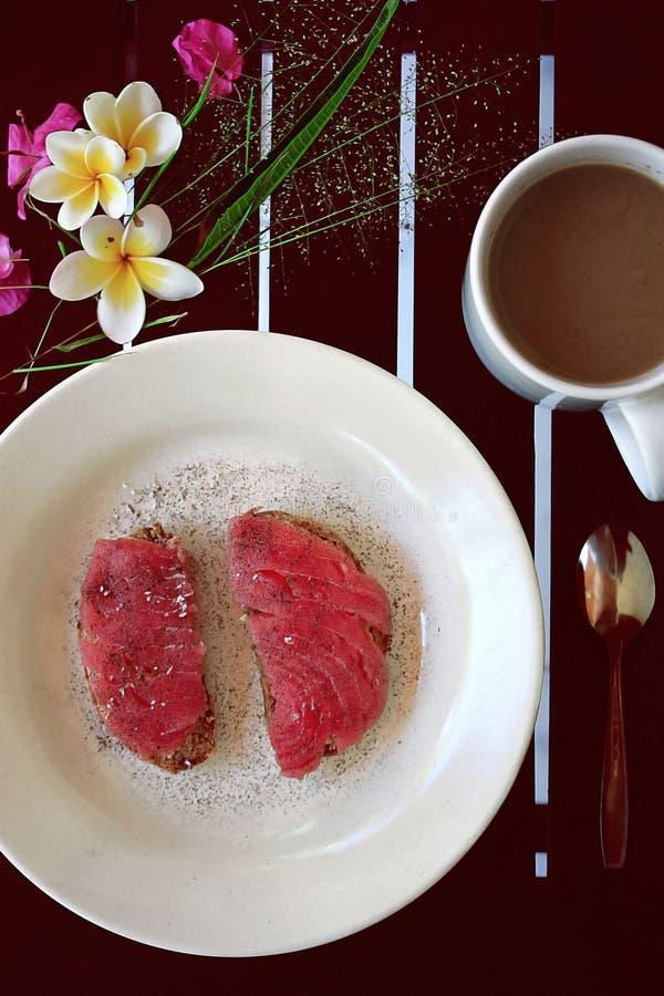 Otwarta tuńczyk kanapka obrazy stock