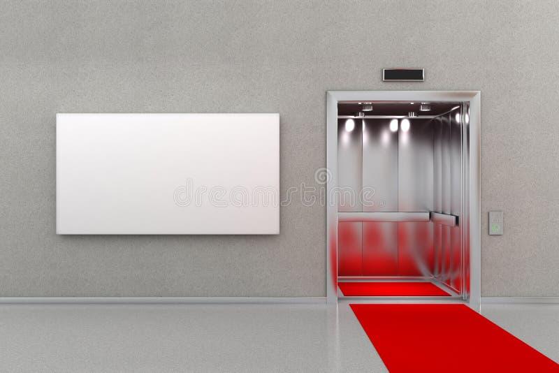 Winda z czerwonym chodnikiem i billboardem ilustracja wektor