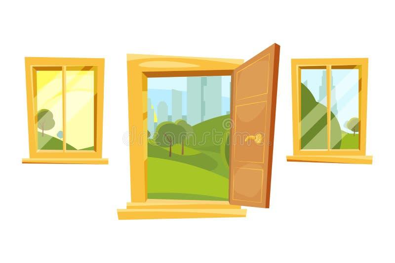 Otwarte drzwi i zmierzchu krajobraz za okno Wektorowi obrazki ustawiający w kreskówka stylu royalty ilustracja