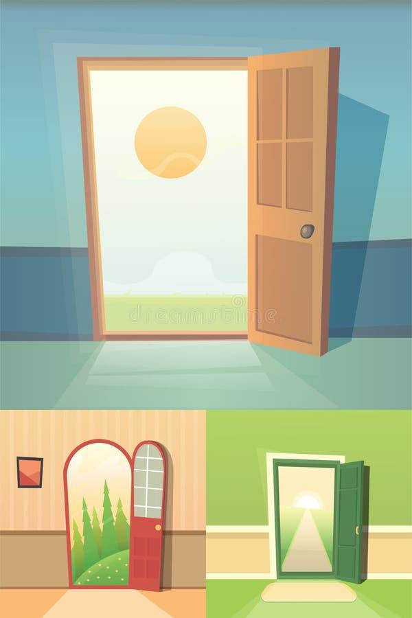 Otwarte drzwi kreskówki wektoru kolekcja set cztery ślicznego drzwi ilustracji