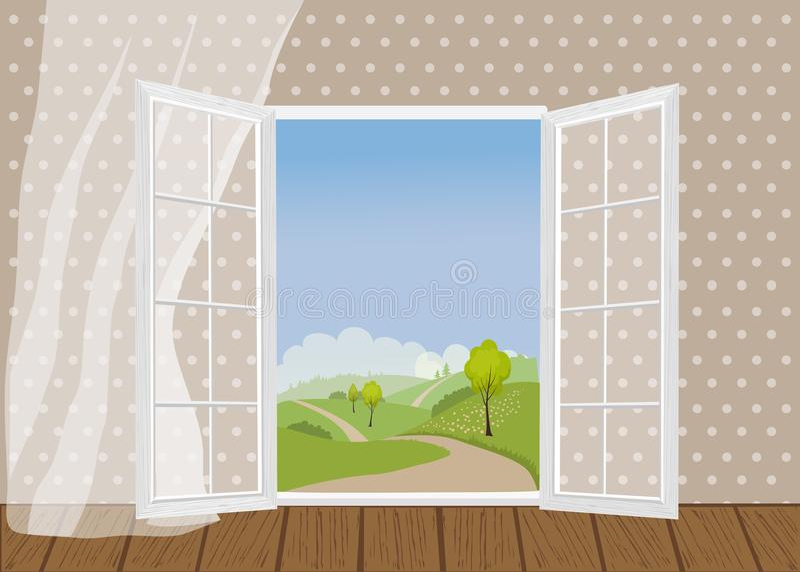 Otwarte drzwi na tle naturalny krajobraz royalty ilustracja