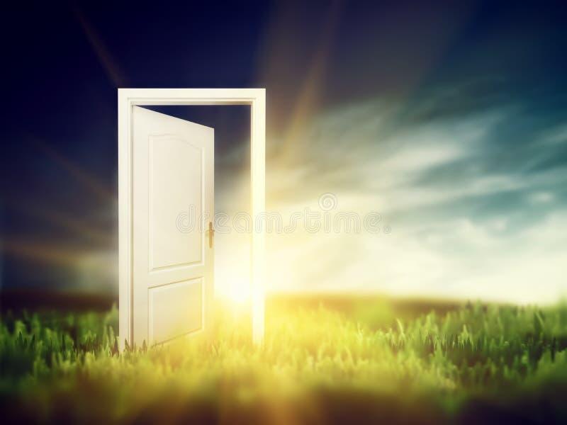 Otwarte drzwi na zielonym polu. Konceptualny zdjęcia royalty free