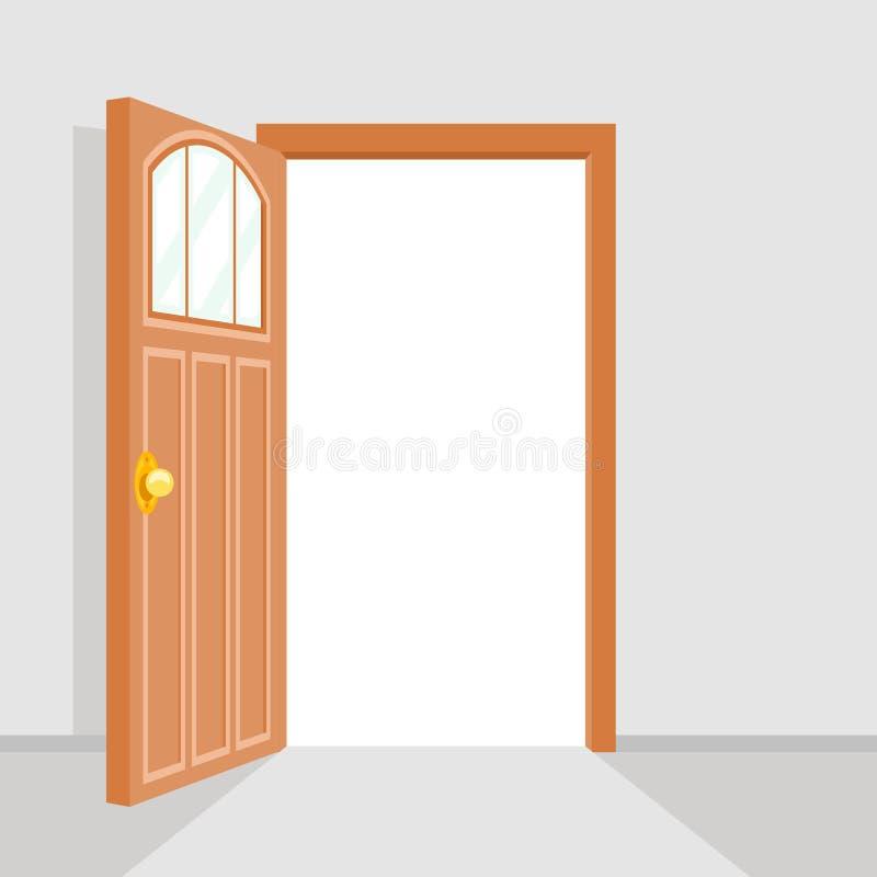 Otwarte Drzwi tła Domowego Płaskiego projekta Odosobniona Wektorowa ilustracja royalty ilustracja