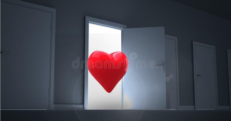 Otwarte drzwi z czerwonym kierowym kształtem zdjęcie stock