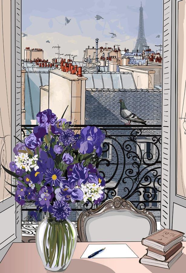 Otwarte okno na dachach Paryż royalty ilustracja
