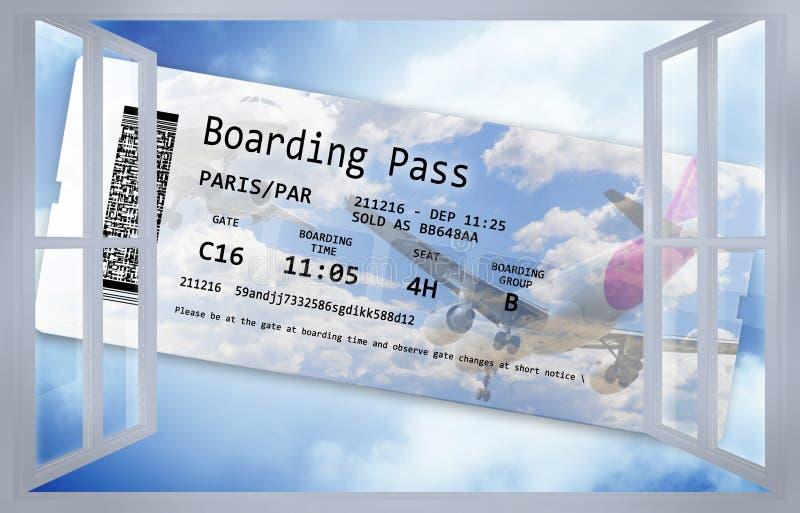Otwarte okno przeciw niebieskiemu niebu z samolotowym lota biletem: marzyć podróżny pojęcie wizerunek royalty ilustracja