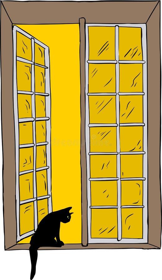 Otwarte okno z kotem przyglądającym out ilustracji