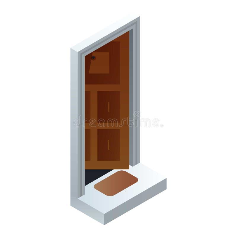 Otwartego domu drzwiowa ikona, isometric styl ilustracja wektor