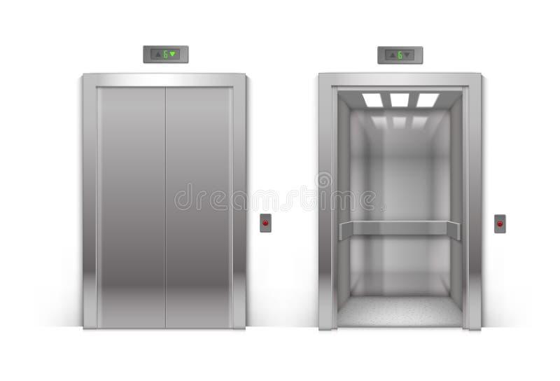Otwartego i Zamkniętego chromu metalu windy Biurowi drzwi ilustracja wektor